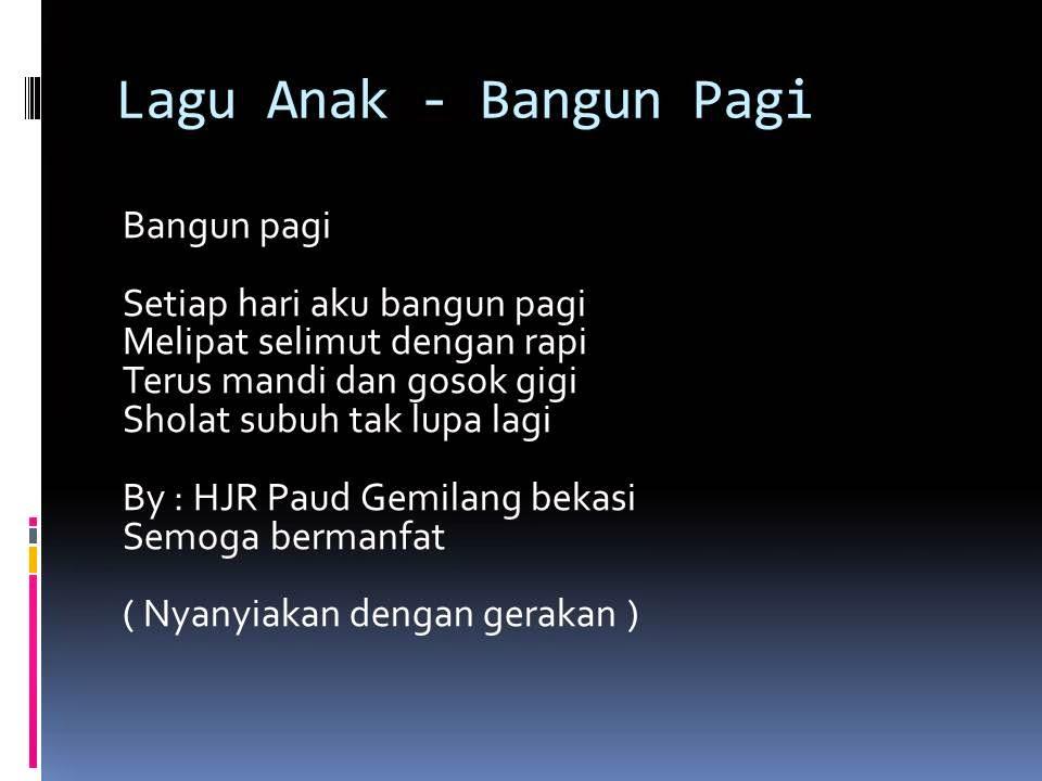 PAUD JATENG | KURIKULUM DAN PEMBELAJARAN PAUD: Lagu Anak ...