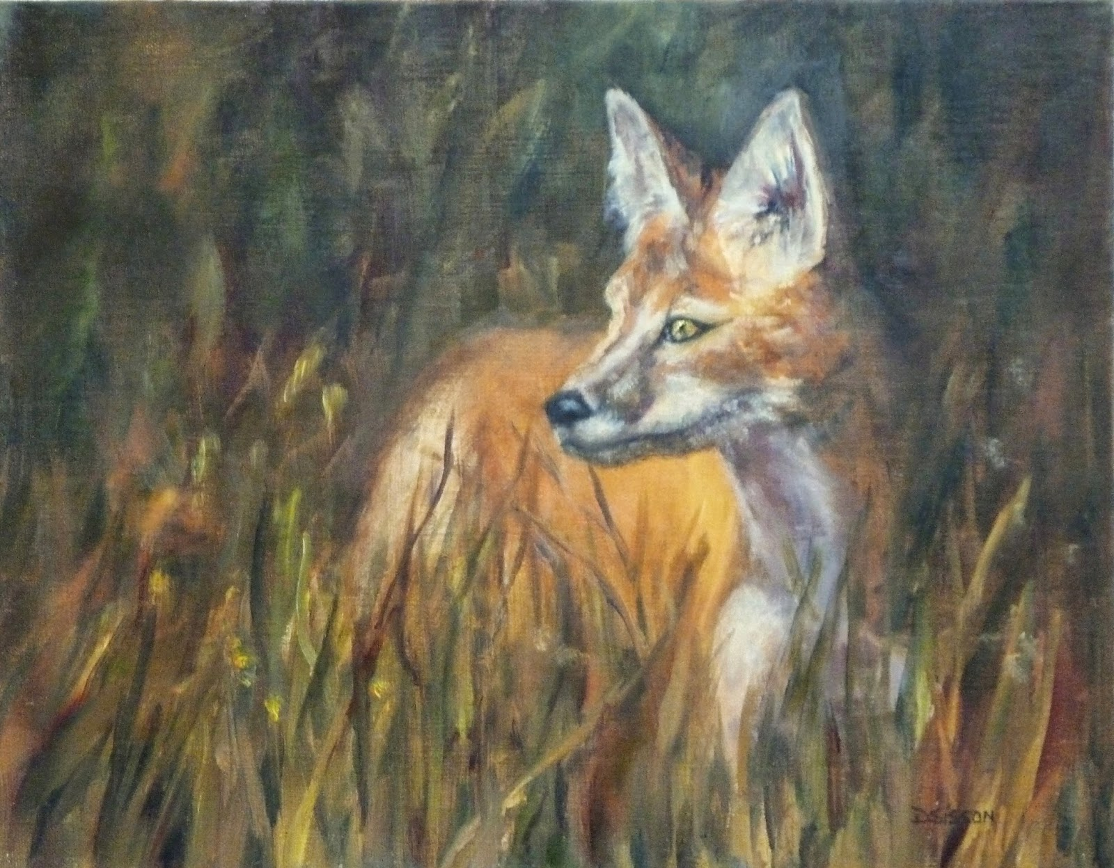 Daily painting projects evening light fox oil painting for Animal oil paintings