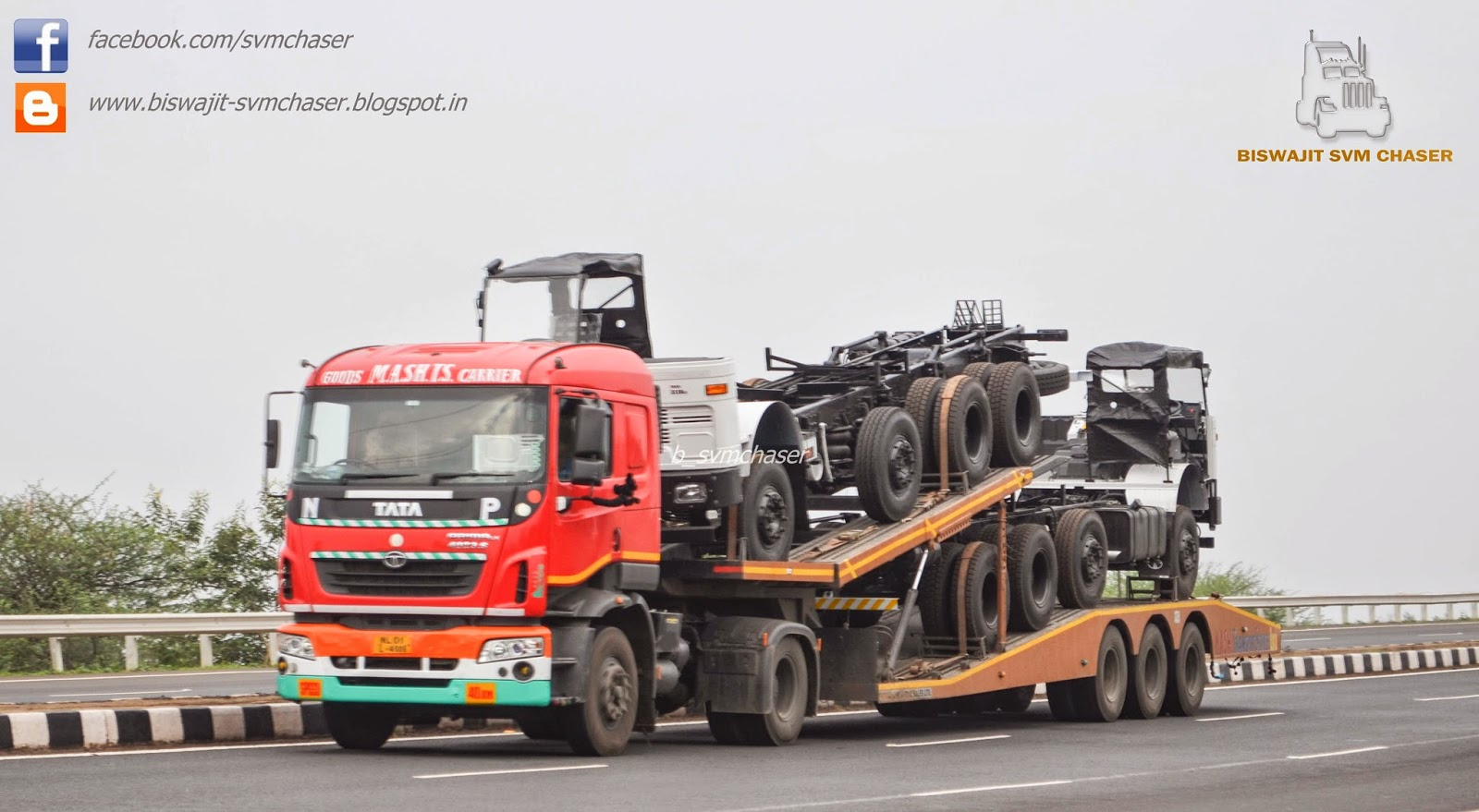 TATA Prima LX Trailer carrying TATA Truck Chassis ...