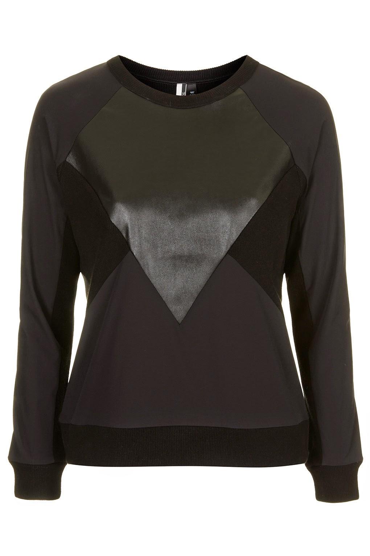 leather panel black jumper