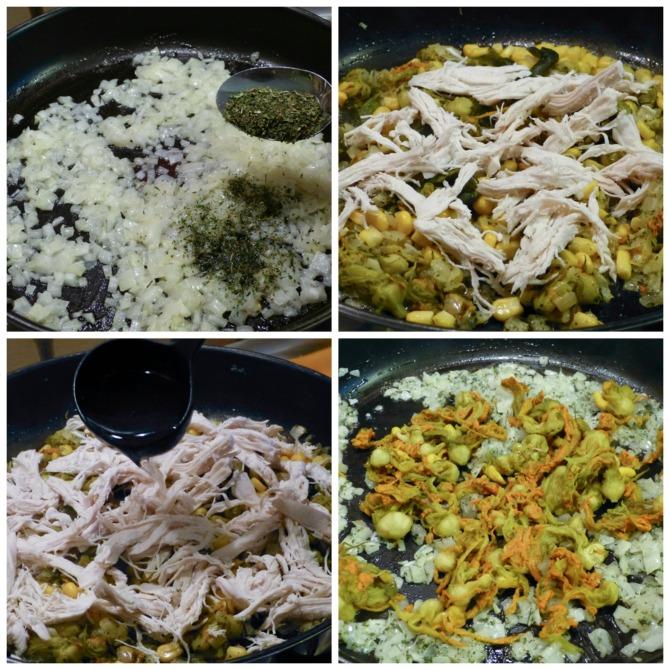 crepas de pollo y flor de calabaza con salsa de chile poblano