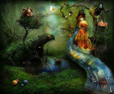 Dans une peinture au décor de nature fantastique et diaphane, une femme en orange escalade une rivière qui monte au ciel