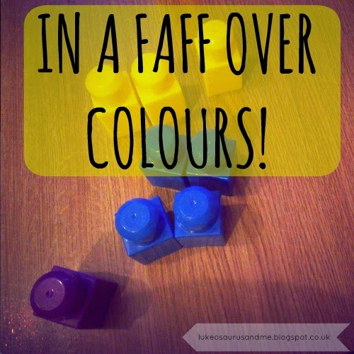 In A Faff Over Colours // Using Megabloks // What I have learnt about trying to teach younger children about colours // www.lukeosaurusandme.blogspot.co.uk