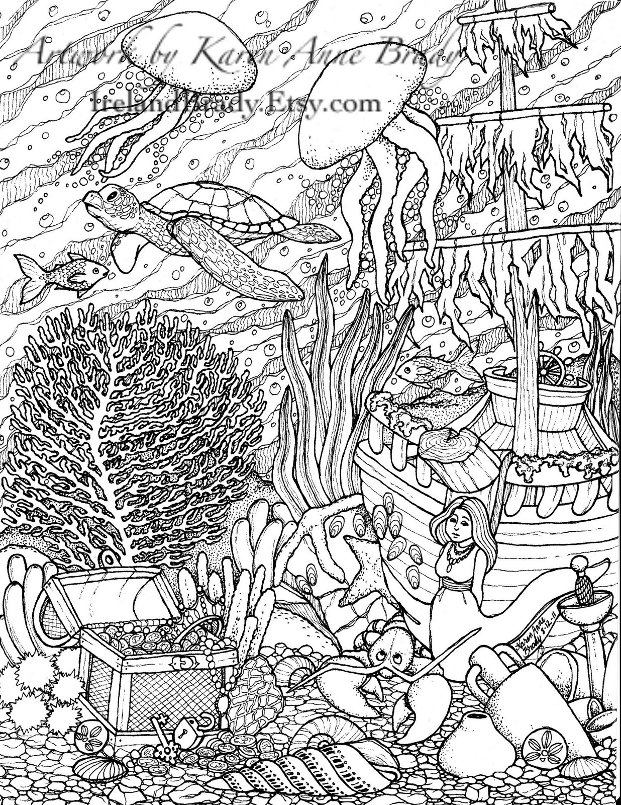 Undersea Panel Number Three Coloring Page