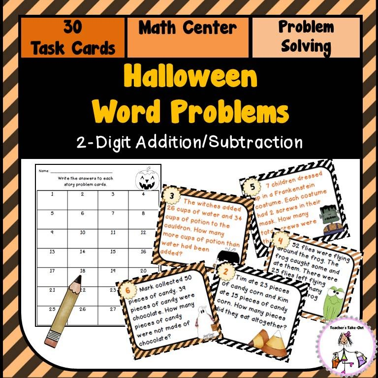 Halloween 2 Digit Word Problems