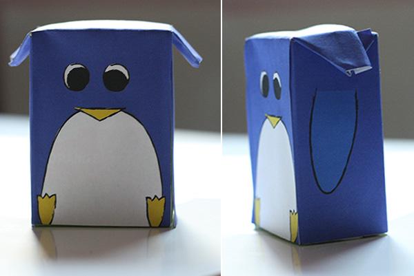 stick ton carton diy pingouin