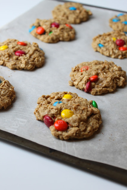 homemade oatmeal peanut butter cookies with M&M's