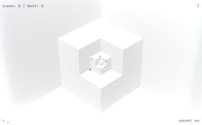 Nuevo mini juego del creador de Minecraft, se ve un pasillo blanco y unas letras dispuestas en espiral