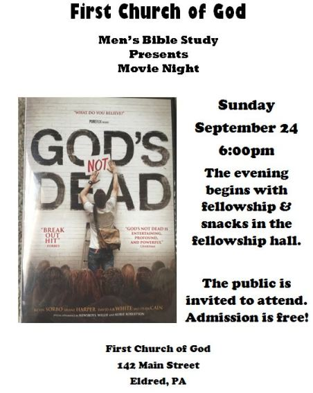 9-24 First Church of God Movie Night