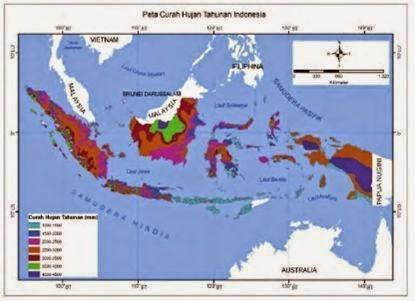 Peta sebaran curah hujan di Indonesia.
