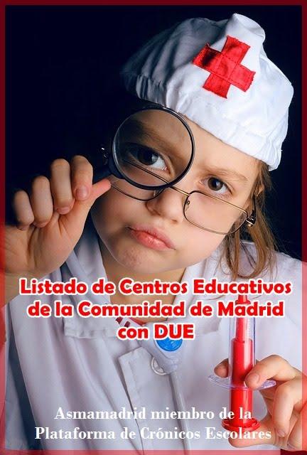 Listado de Centros Educativos de la Comunidad de Madrid con DUE (enfermera/os)