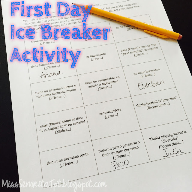 First Day Spanish Ice Breaker Activity