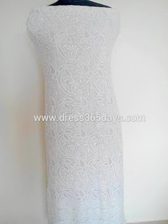 Pure Georgette White Dress Material in Chikankari Embroidery