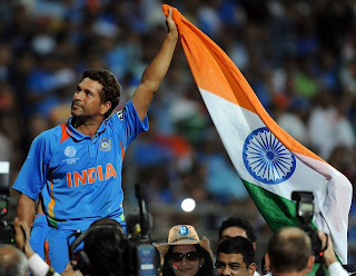 Sachin Tendulkar with flag