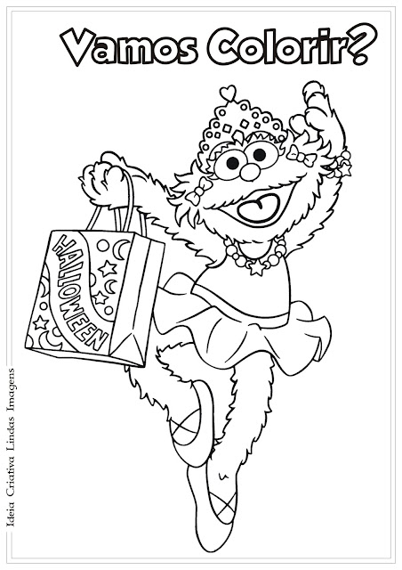Desenho Zoe Vila Sésamo para colorir