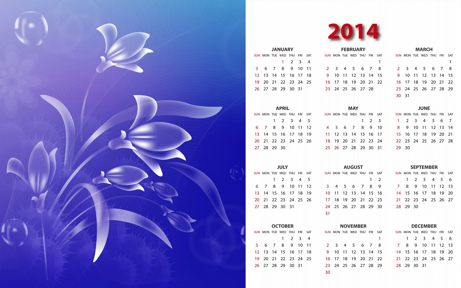 Abstract spring flower Calendar Designs