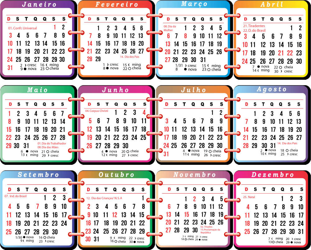 Calendário 2016 em Pdf para Imprimir | Toda Atual