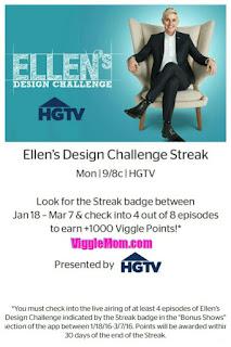 Ellen's Design Challenge, Viggle, Viggle Trivia Answers, Viggle Mom, Viggle Streak, SnapMaster, Perk