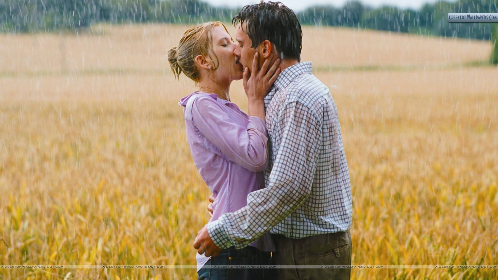 romantic couple in rain - Kissing