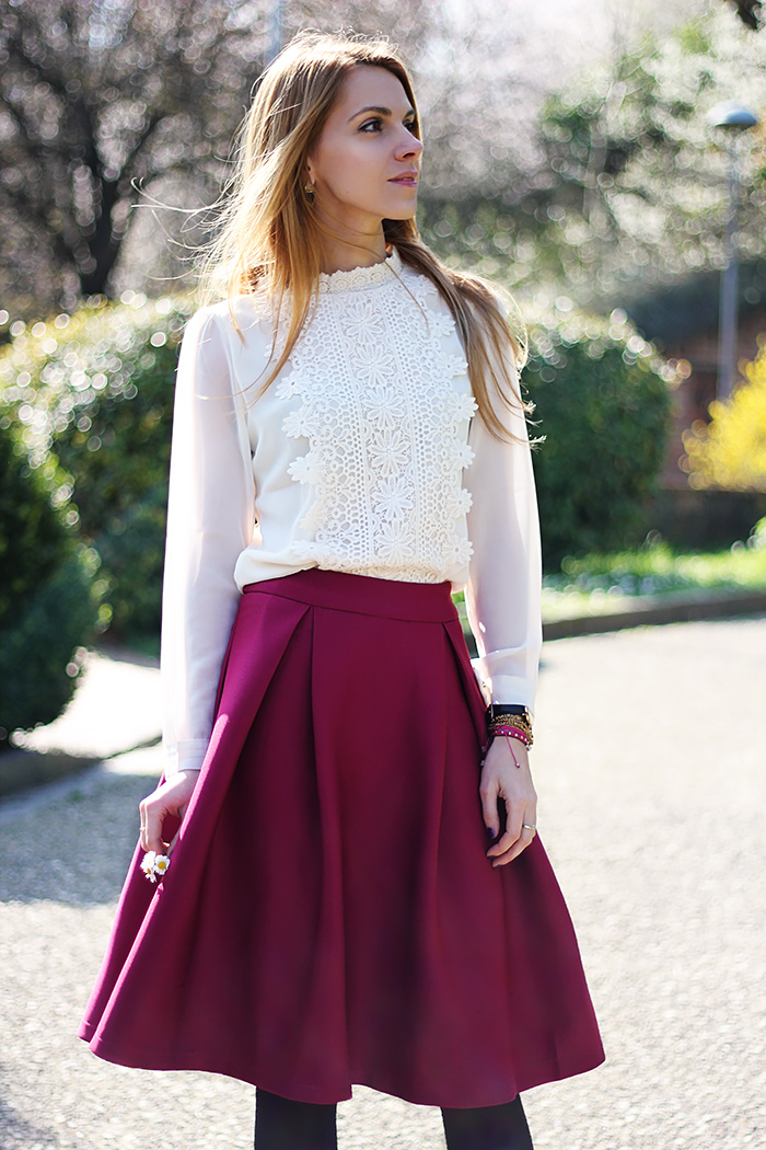 romantic white lace shirt, midi skirt, spring outfit
