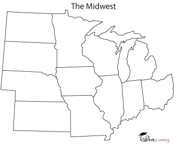 blank map us midwest region