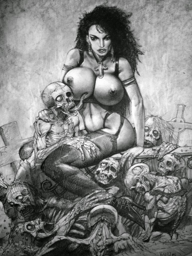 Dessin de Simon Bisley représentant une femme à gros seins assise au milieu de morts vivant pervers