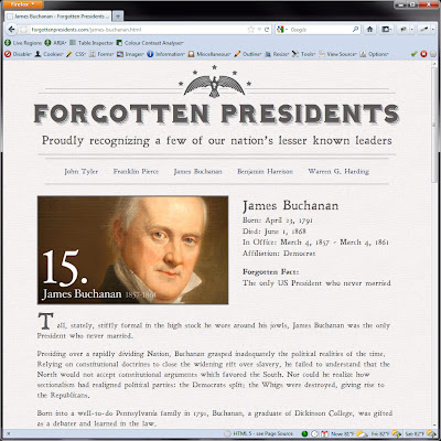 Screen shot of http://forgottenpresidents.com/james-buchanan.html.