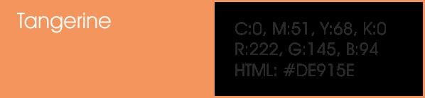 Tangerine y sus códigos cmyk, rgb, html