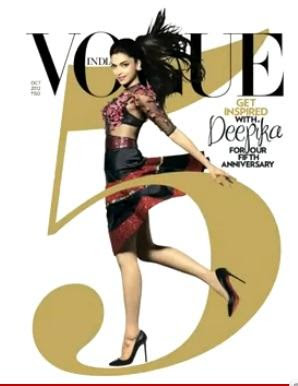 Deepika padukone on the cover page of Vogue