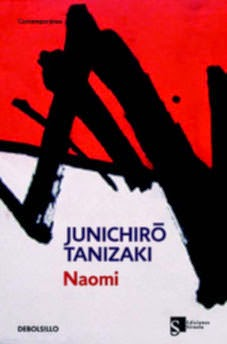 Portada novela Naomi de Junichiroo Tanizaki kanji negro blanco y rojo