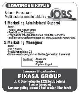 Lowongan Kerja FIKASA GOROUP Lampung
