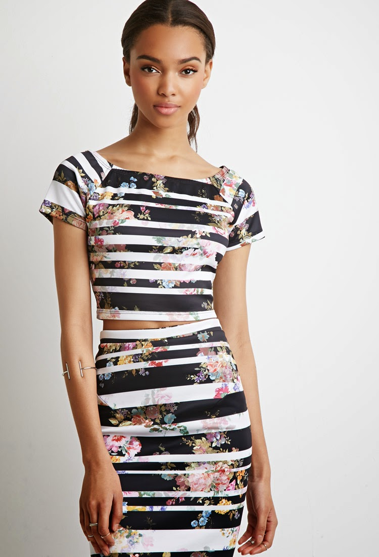 Matching Floral Stripe Print Top and Pencil Skirt Set