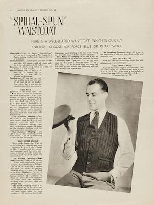 1940's Knittiing - Spiral-spun Waistcoat PATTERN