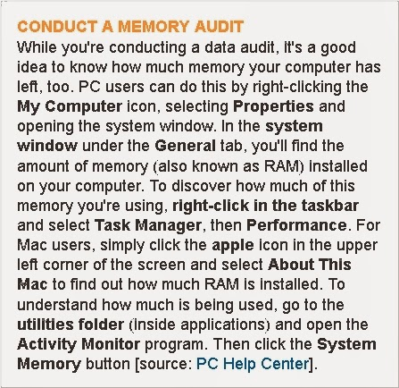 CONDUCT A MEMORY AUDIT