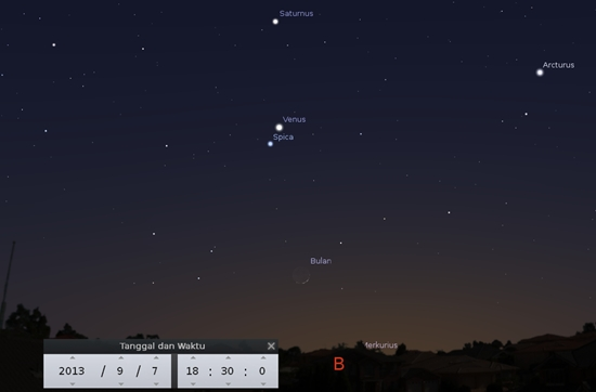 Bulan, Spica, Venus dan Saturnus Hadir di Senja 7 September