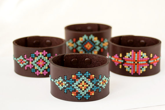 https://www.etsy.com/listing/95790411/diy-cross-stitch-kit-leather-cuff-with