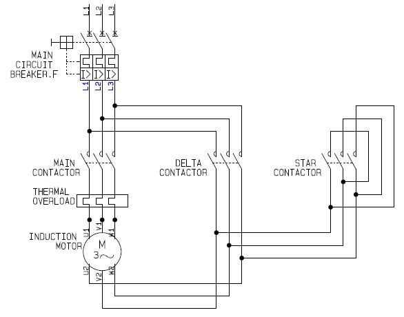 Power Circuit of a Star Delta or Wye Delta Electric Motor ... on wye delta starter timer, wye motor wiring, wye start delta run diagram, wye-delta transformer wiring diagram, wye-delta motor control diagram, wye delta connection diagram, star delta starter wiring diagram, wye delta schematic diagram, wye electrical diagram, delta and wye diagram,