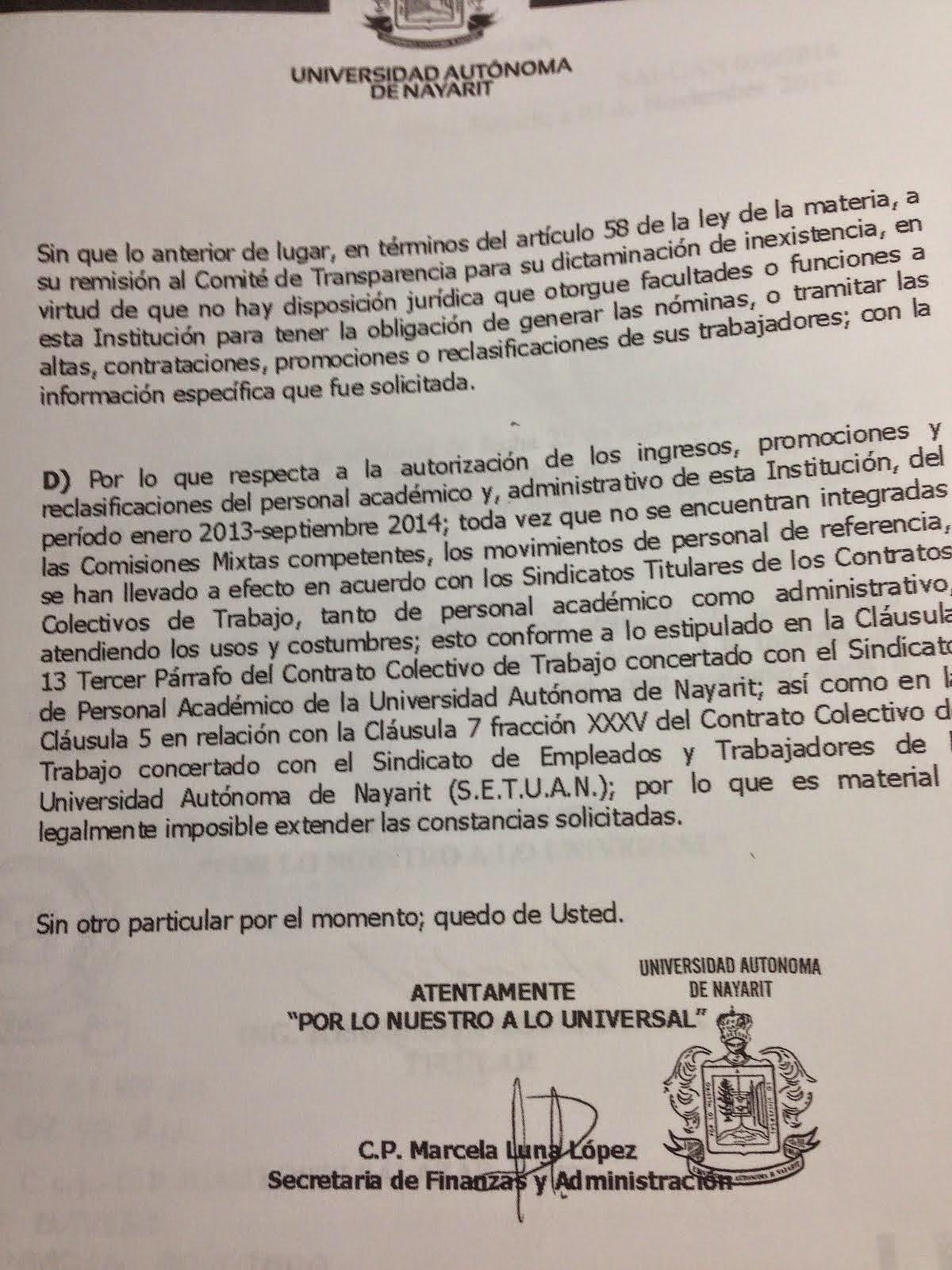 RECONOCIMIENTO OFICIAL DEL TRAFICO DE INFLUENCIAS EN LA UAN