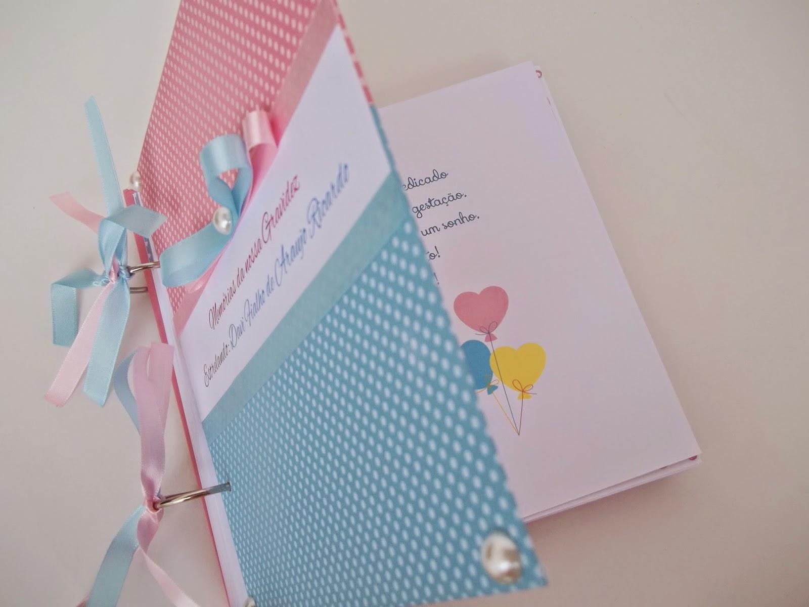 álbum scrapbook gravidez,  recordações, presente para grávida, diário gravidez, unissex, menino