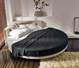 Round beds in a bedroom