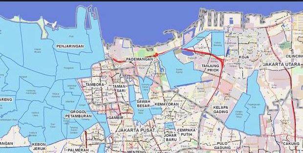 Gambar Peta Jalan Kota DKI Jakarta pusat Barat Timur Selatan, Map Indonesia