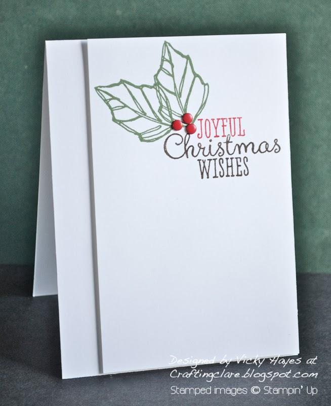 Christmas card made with Joyful Christmas by stampin up available from Crafting clare's online shop