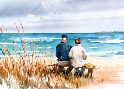 old man and woman at the beach