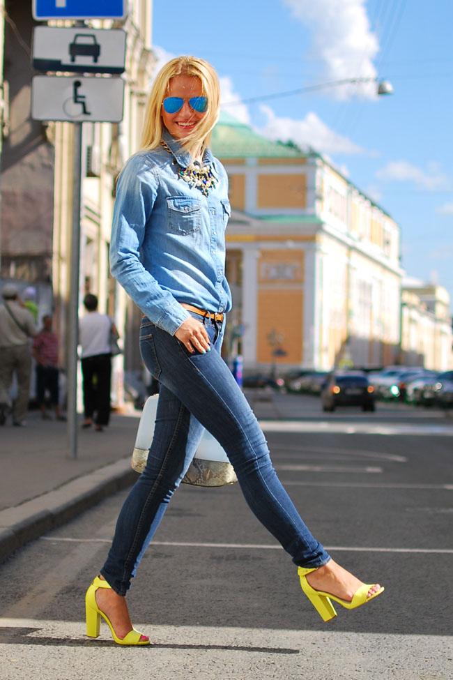с чем носить джинсовую рубашку, лучший деним лук,деним лук,тотал деним,модные блоггеры,тренды весна 2015
