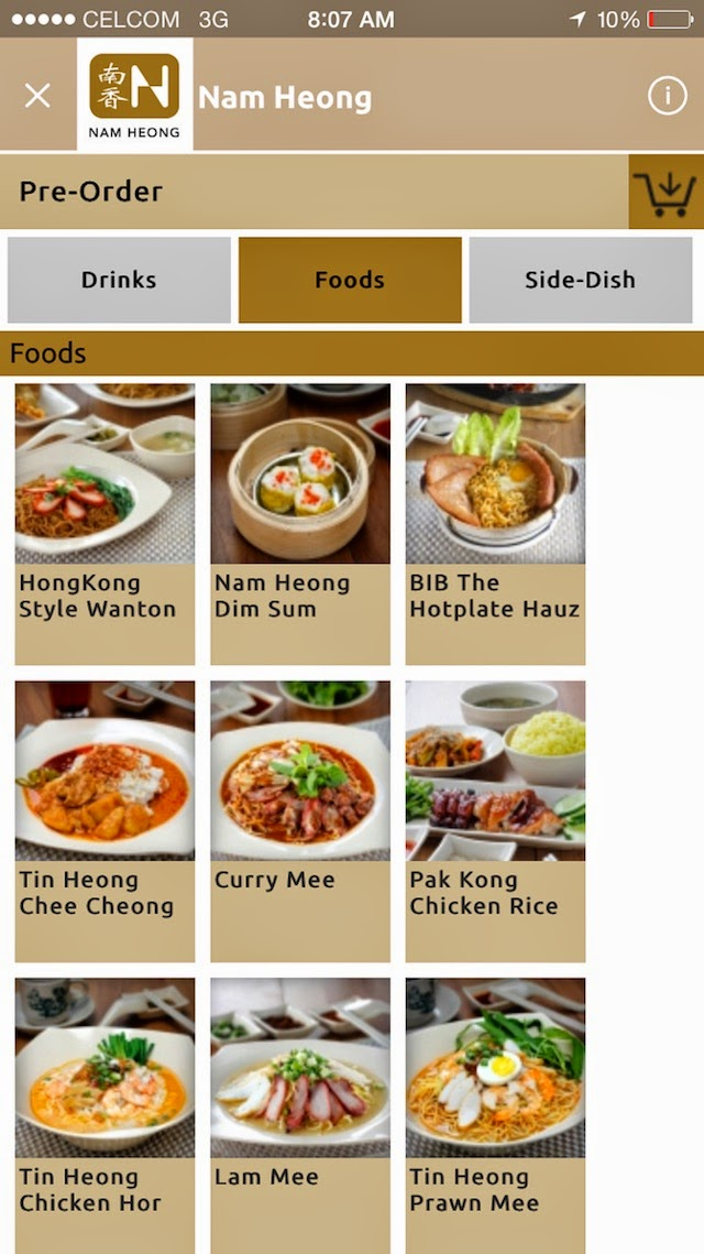 Step1 to pre-order, choose your dish