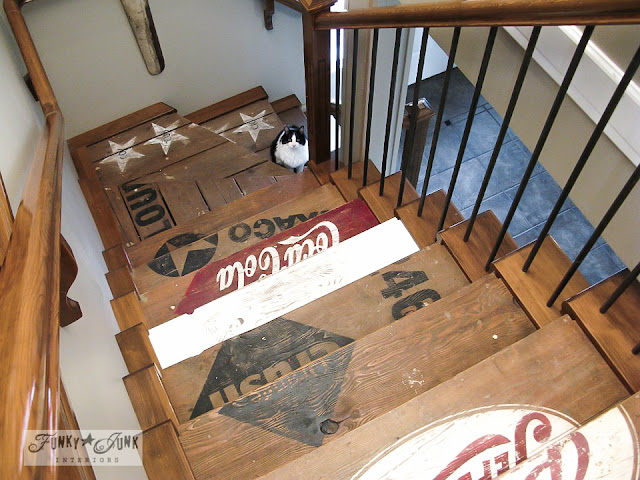 soda crate logos / Painted wooden crate stairs via http://www.funkyjunkinteriors.net/