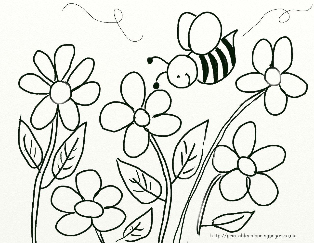 18 riscos de abelhas e flores  Desenhos para Colorir
