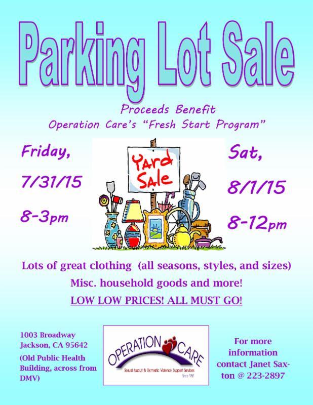 Parking Lot Sale - July 31 & Aug 1