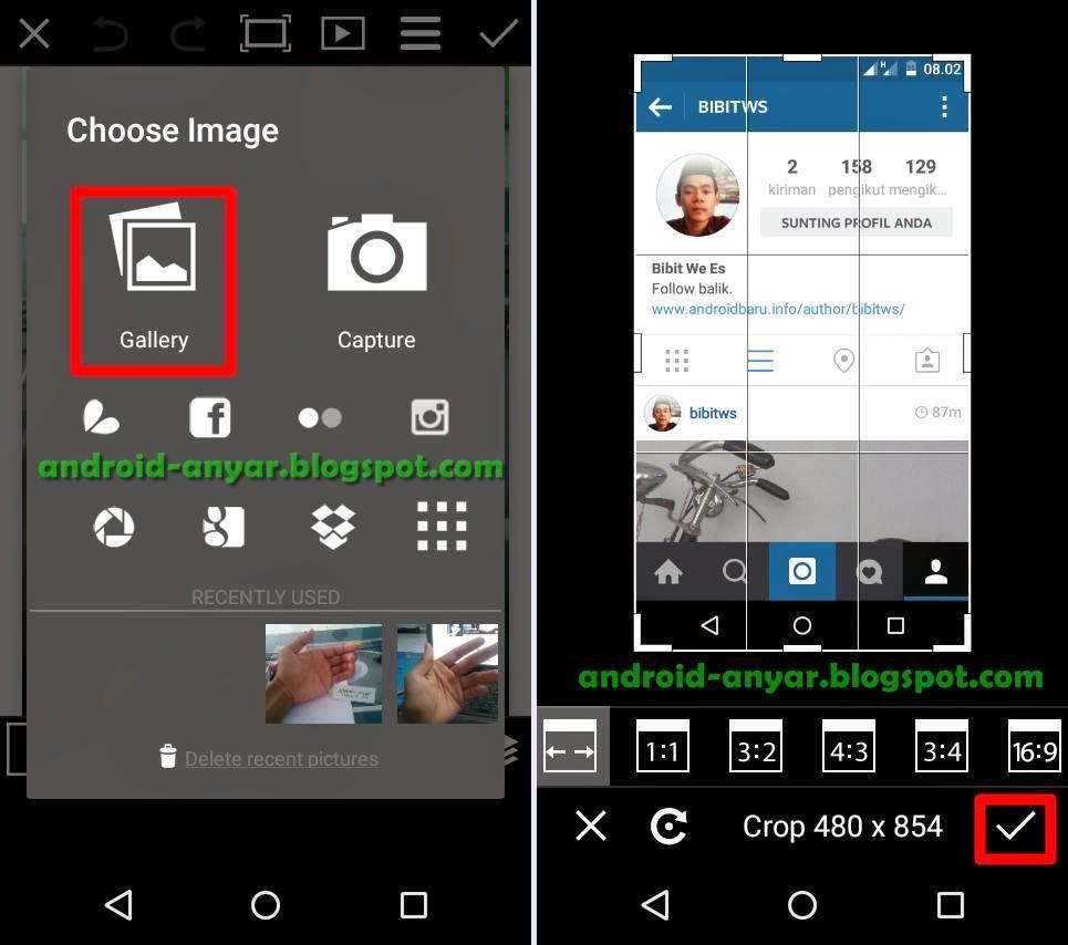 Menambah gambar screenshot Instagram di PicsArt