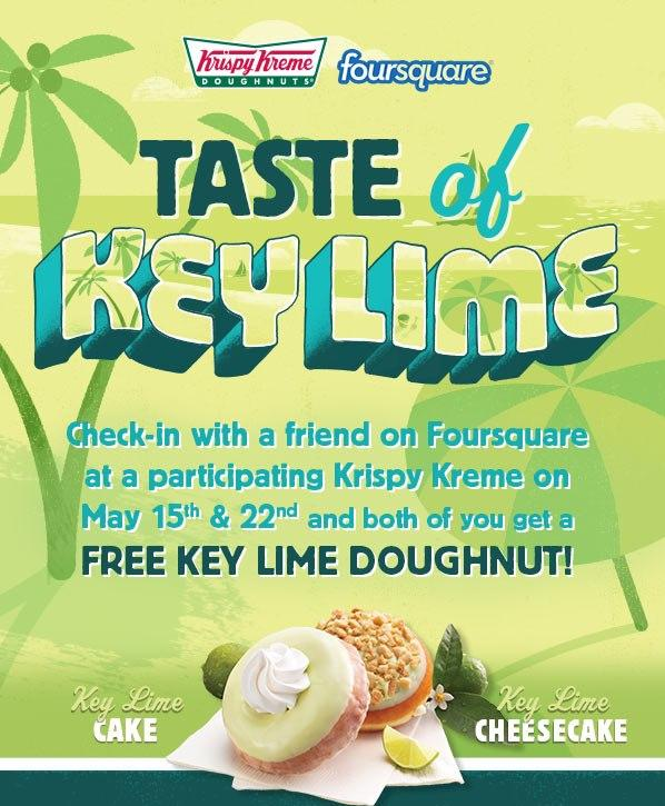 Krispy Kreme: FREE Key Lime Doughnut With FourSquare Check-In!